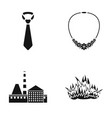tie necklace and other web icon in black style vector image vector image