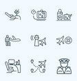 transportation icons line style set with luggage vector image vector image