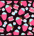 valentines day seamless pattern with cups hearts vector image
