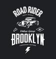 vintage hot rod tee-shirt logo vector image vector image