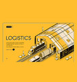 warehouse logistics railway wood global shipping vector image vector image