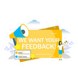 we want your feedback flat vector image