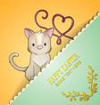 with spring and baby cat vector image vector image
