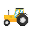 yellow tractor heavy agricultural machinery vector image