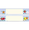 Fruits cartoon characters near menu board banner vector image