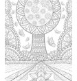 adult coloring bookpage a cute tree on the vector image