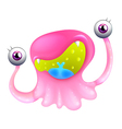 An excited pink monster vector image vector image