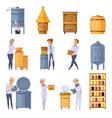 apiary honey production cartoon set vector image vector image