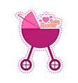 baby shower label with a stroller vector image vector image