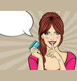 beautiful woman in pop art style with credit card vector image vector image