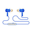 blue wired earphones accessory for music vector image