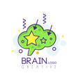 brain logo in line style with green fill vector image vector image
