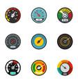 car speedometer icon set flat style vector image