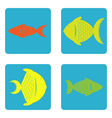 color icon set with fish vector image vector image