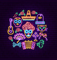 day of the dead neon concept vector image vector image
