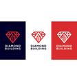 diamond building logo design vector image