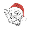 dog in santa hat vector image vector image