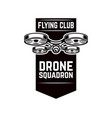 emblem template with flying drone design element vector image vector image