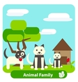 Family dog on the background of trees and sky vector image vector image