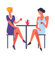 females relaxing by drinking tea and talking vector image