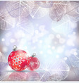 festive winter background with red holiday balls vector image vector image