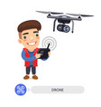 flat cartoon character with drone camera vector image