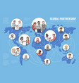 global partnership concept with business people on vector image