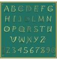 Golden Alphabet Artistic yellow font vector image
