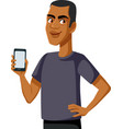 happy smiling man showing a smartphone