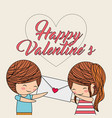 happy valentines boy gives message a girl love vector image vector image