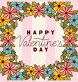 happy valentines day card with floral crown vector image vector image