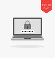 Laptop with lock on screen icon Computer security vector image vector image