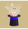 Magic trick Retro cards and a hat vector image vector image