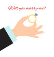 man hand with engagement ring vector image vector image