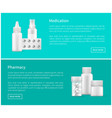 medication and pharmacy set vector image