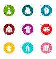 outer garment icons set flat style vector image vector image