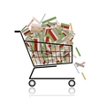 Pile of books in shopping cart for your design vector | Price: 1 Credit (USD $1)