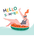 pool party positive young girl sitting vector image vector image