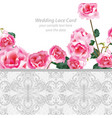 rose flowers and lace wedding invitation delicate vector image vector image