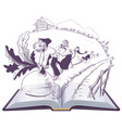 russian tale of turnip open book cartoon vector image vector image