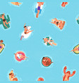 seamless pattern with happy people in water vector image