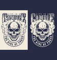 set casino emblems with skull vector image vector image