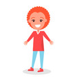 smiling redhead boy in sweater and trousers vector image vector image