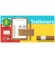 stationery scene with office equipment vector image vector image