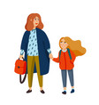stylish mother and daughter walking from school vector image vector image