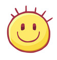stylized smiling face funny hand drawn head with vector image