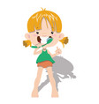 the child cleans his teeth a little girl is vector image