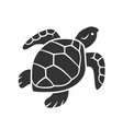 turtle glyph icon slow moving reptile with scaly vector image