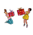 two girls joyful with gifts vector image vector image