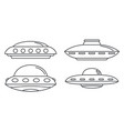 ufo spaceship icon set outline style vector image